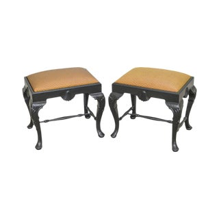 Georgian Furnishings Co. Custom Pair of Black Lacquer Queen Anne Stools Benches