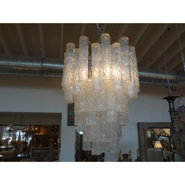 Hollywood Regency Mid Century Venini Style Murano Glass Tronchi Chandelier For Sale - Image 3 of 7