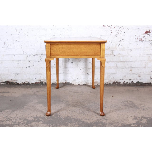 Baker Furniture Queen Anne Burl Wood Writing Desk For Sale - Image 10 of 13