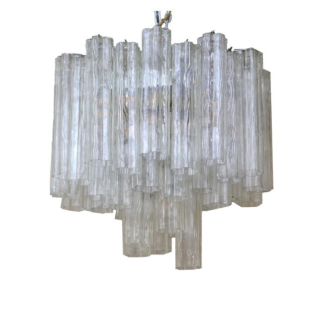 Gold Italian Round Three-Tier Tronchi Glass Chandelier For Sale - Image 8 of 8