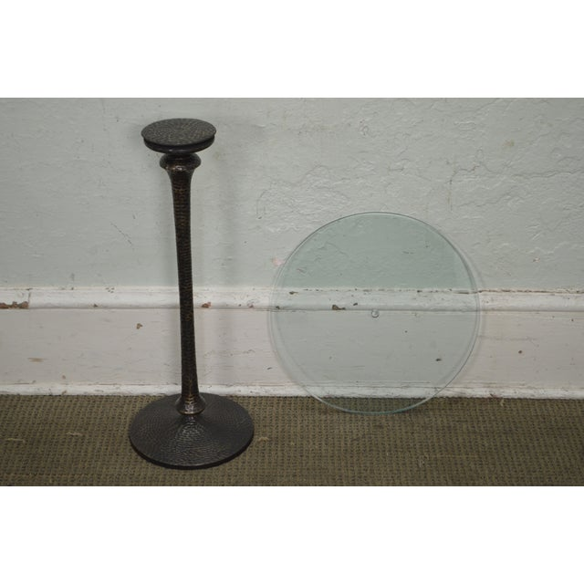 Hammered Brass Round Glass Top Pedestal Side Table For Sale - Image 10 of 10