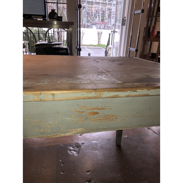 Wood Antique Painted Wood Continental Table With Patina and Two Drawers For Sale - Image 7 of 13