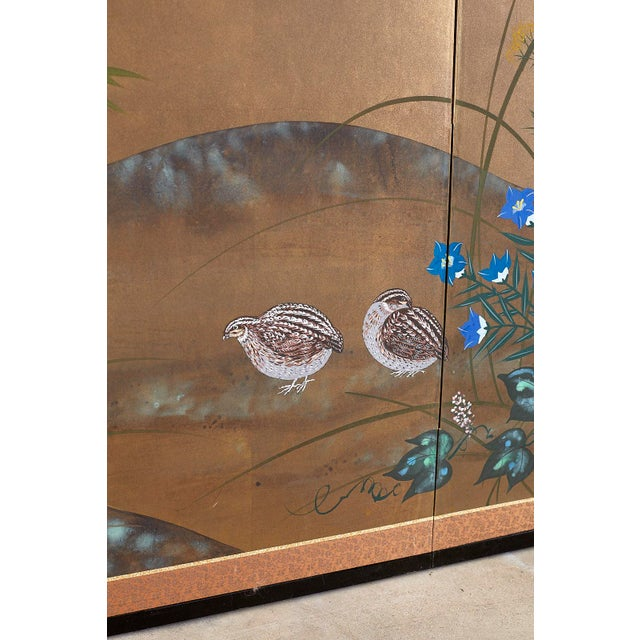 Wood Japanese Four Panel Screen Quail in Flower Bamboo Landscape For Sale - Image 7 of 13