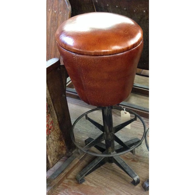 Round Leather Bar Stool - Image 2 of 2
