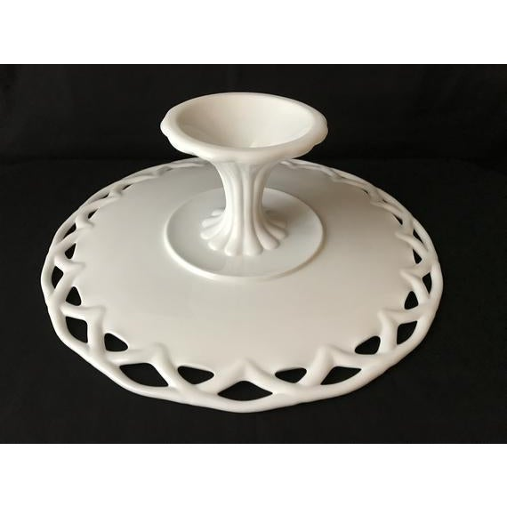Glass 1950s Pitman-Drietzer Colony Lace Edge Milk Glass Cake Stand For Sale - Image 7 of 11