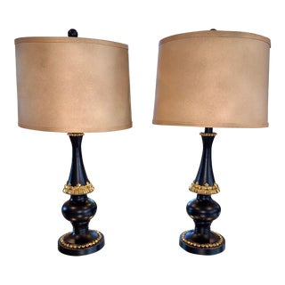 Black & Gold Gem Modern Table Lamps - A Pair For Sale