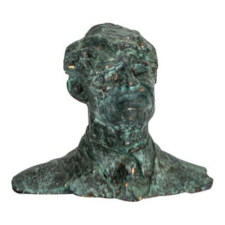 Small Verdigris Plaster Male Bust For Sale