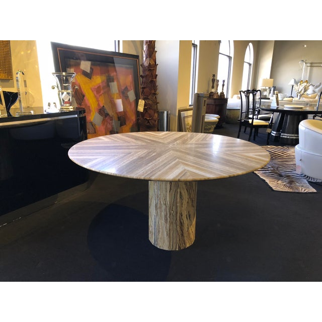Stone 1980s Contemporary Italian Travertine Stone Table For Sale - Image 7 of 11