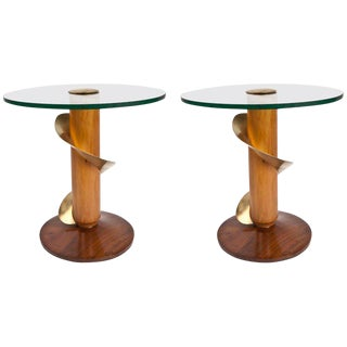 Mid-Century Modern Teak and Brass Side Tables - a Pair For Sale