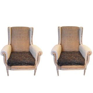 19th Century Louis XVI Style Wingback Chairs - a Pair