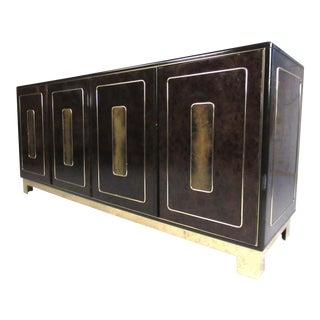 Mid-Century Modern Burl and Brass Acid Etched Dresser by Bernhard Rohne For Sale