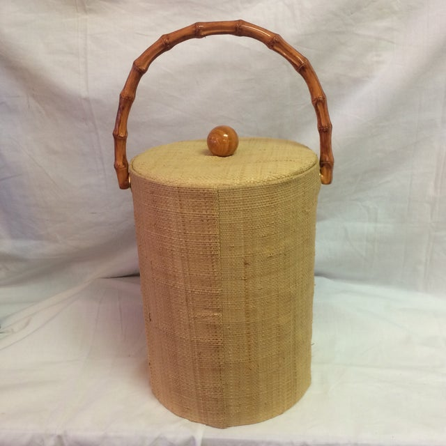 Rattan & Grass Cloth Ice Bucket For Sale - Image 5 of 9