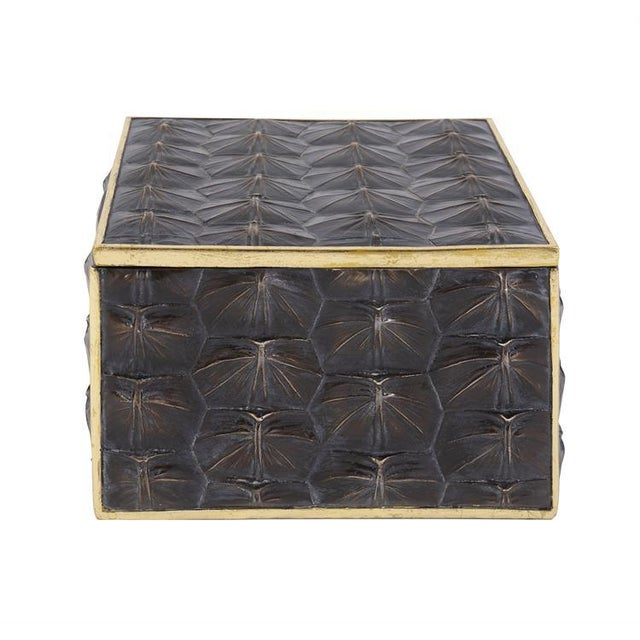 Metal Faux Tortoise Shell Textured Box - Large For Sale - Image 7 of 7
