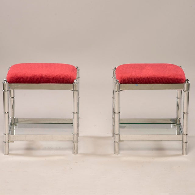 Italian Hollywood Regency Nickel Plated Faux Bamboo Stools - a Pair For Sale - Image 12 of 12