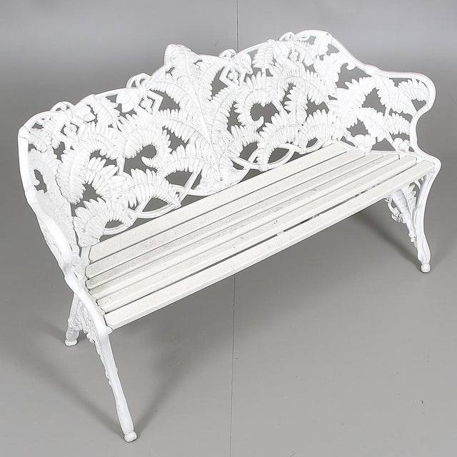 1960s Swedish Park Garden Steel Bench Settee For Sale - Image 5 of 7