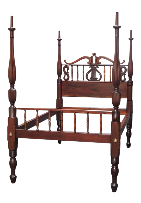 19th C St Croix Stylized Regency Mahogany Queen Bed