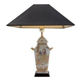 Vintage 1980s Chinoiserie Porcelain Lamp Temple Jar, English For Sale