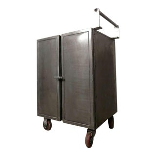 Mid Century Industrial Metal Rolling Cart For Sale