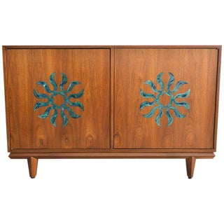 1970s Cal Mode Walnut and Enameled Two-Door Dresser