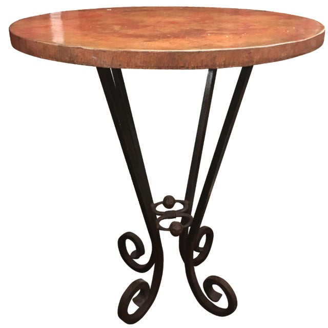 Vintage Copper-Top Bar Table - Image 1 of 9
