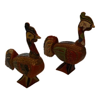 Mid 20th Century Painted Carved Wood Indonesian Birds - a Pair For Sale