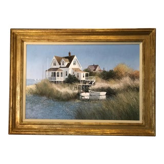 Tradtiional Oil on Canvas Painting, Seaside House on the Marshes by Albert G. Swayhoover For Sale