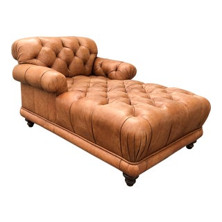Original French Tufted Leather Chaise