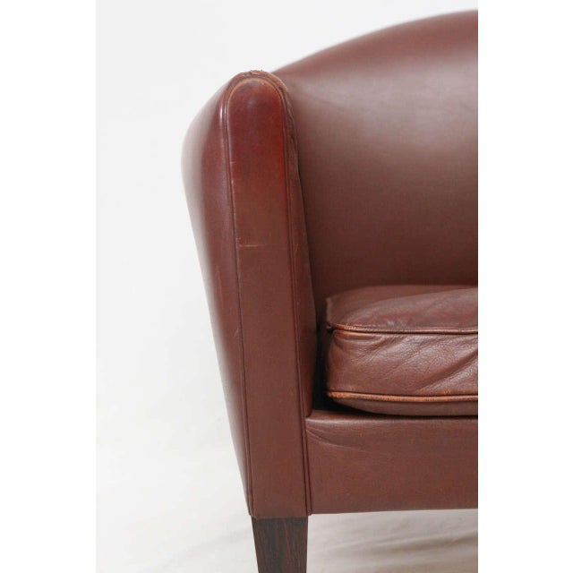 Hans Olsen Pair of Illum Wikkelso Leather Lounge Chairs For Sale - Image 4 of 9
