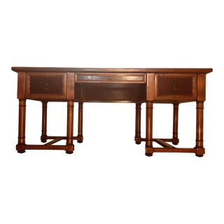 1950s Traditional Walnut Plank Top Partner Desk For Sale