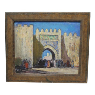 "1930s ""The Gate"" Oil on Board Painting by Donald Frederick Witherstine For Sale"