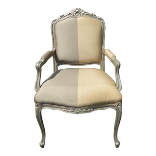 Vintage French Provincial Gray Tan Strip Bergere Accent Armchair For Sale