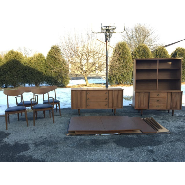 Gold 1960s Scandinavian Modern Stanley Walnut China Hutch With Glass Doors For Sale - Image 8 of 9