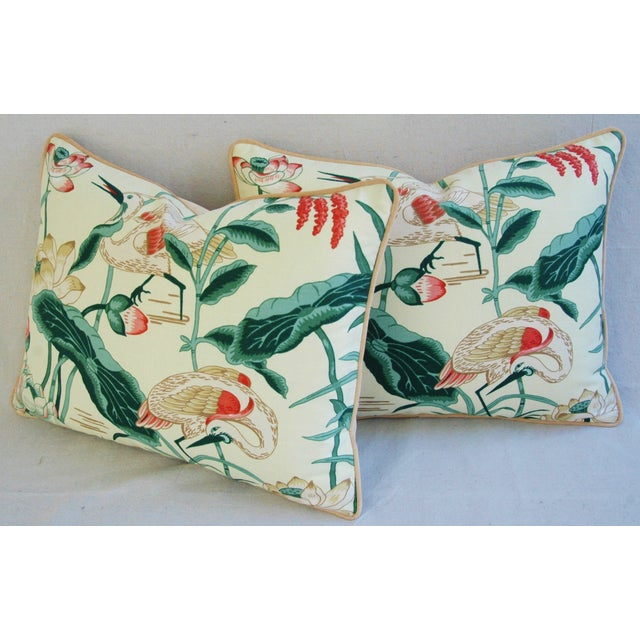 Egrets & Lotus Blossom Pillows - a Pair - Image 10 of 11