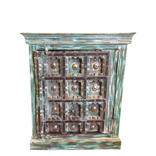 Antique Turquoise Distressed Rustic Farmhouse Chic Console Chest For Sale