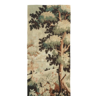 Antique French Cream and Green Floral Wool Tapestry Rug 4′2″ × 9′10″ For Sale