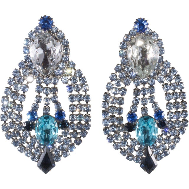 """Dominique Earrings Blue Rhinestone Clips Drag Queen Statement 4 1/2"""" Huge For Sale"""