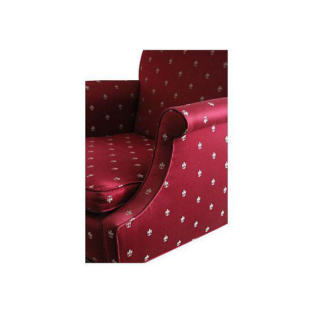Chippendale Burgundy Chippendale Wingback Chairs - A Pair For Sale - Image 3 of 8