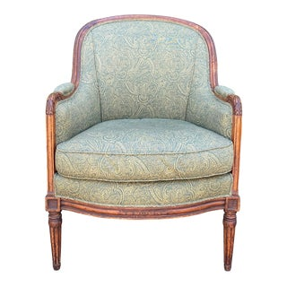 Antique Early 19 C Directoire Style Bergere Barrel Chair For Sale