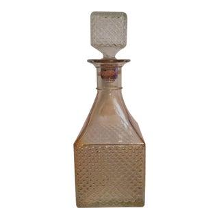Vintage Decanter Marigold Diamond Glass Pattern For Sale