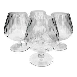 Vintage Mid Century Empoli Italian Diamond Optic Quilt Brandy Snifters Whiskey Crystal Glasses- Set of 4 For Sale