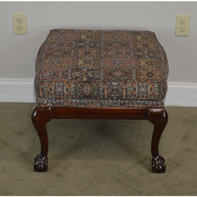 1990s Fairington Chippendale Style Ball & Claw Foot Ottoman For Sale - Image 5 of 13