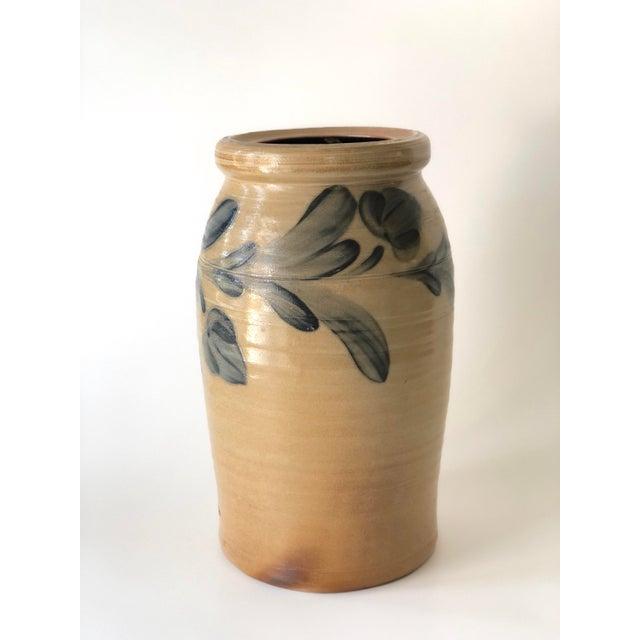 Farmhouse Salt Glazed Vase With Cobalt Blue Floral Motif - Vintage For Sale - Image 9 of 12