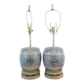 Pair of Chinoiserie Blue and White Garden Stool Lamps For Sale