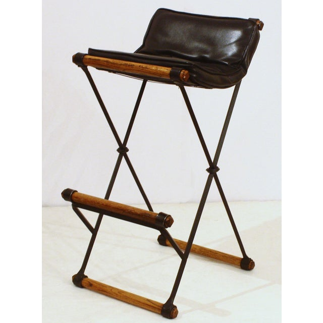 Mid-Century Modern Campaign / X-Bar Stools (Model Number XBS-35) by Cleo Baldon for Terra For Sale - Image 3 of 6