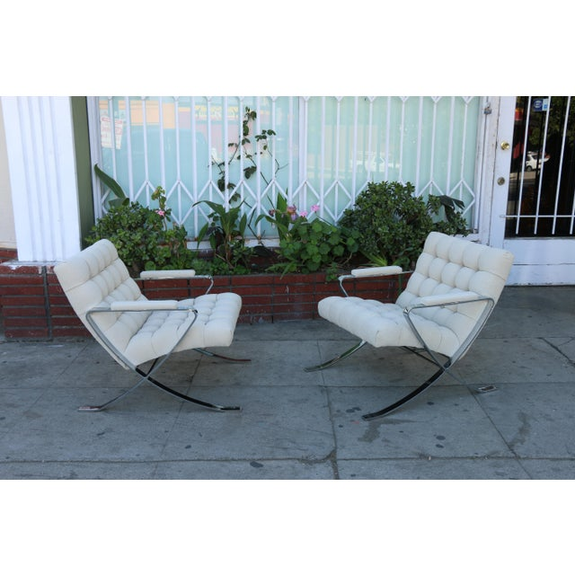 Metal Steel Chrome Lounge Chairs inspired by Milo Baughman For Sale - Image 7 of 13