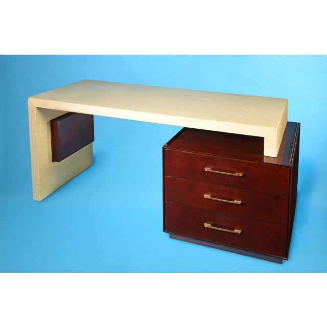 1950s Paul Frankl Cork and Mahogany Desk for Johnson Furniture 1950s For Sale - Image 5 of 8