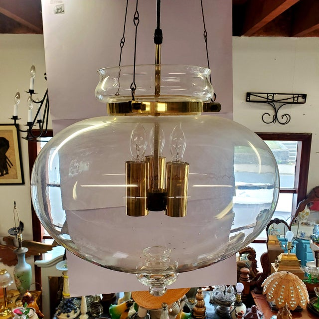1960s Vintage Glass Globe Hanging Light Fixture For Sale - Image 11 of 13