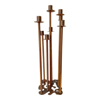 Eight Candle Holder Iron Floor Candelabra For Sale