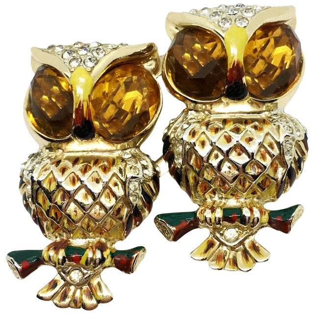 1940s Coro Craft Duette Yellow and Goldtone Owl Brooch/Clips - a Pair For Sale