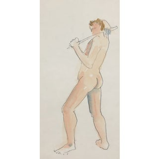Standing Male Nude Watercolor For Sale